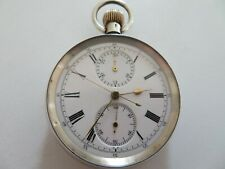 SUPERB HEAVY SOLID SILVER SWISS 5 HAND CHRONOGRAPH POCKET WATCH ALL WORKING