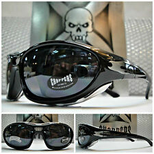 Mens MOTORCYCLE BIKER RIDING CHOPPERS PADDED GLASSES GOGGLES Black Silver Flames