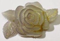 belle broche bijou vintage résine de qualité forme de rose couleur gris 4295