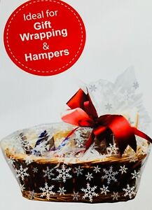6 x SNOWFLAKE HAMPER BASKET Gift Cake CELLOPHANE BAGS With Ties CHRISTMAS