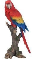 PARROT ON BRANCH BIRD AMAZING - Realistic Life Like Figurine Statue Home Garden