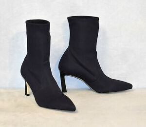 E0 NEW STUART WEITZMAN Navy Nylon Rapture Heels Ankle Bootie Shoes Sz 8.5 M $575
