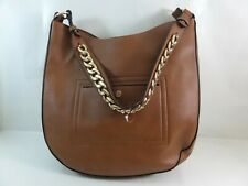 Steve Madden Tan large shoulder purse handbag gold chain zip top faux leather