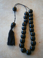 OBSIDIAN BLACK BEAD WORRY BEADS GREEK KOMBOLOI VOLCANO VOLCANIC ROCK TASBIH