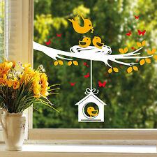 11089 Wandtattoo Fenster Aufkleber Ast Vögel Vogelhaus Nest 3farbig Blätter tree