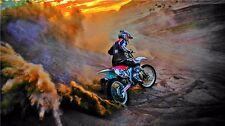 """MOTOCROSS DIRT BIKE JUMP SPORT PHOTO ART PRINT POSTER 24""""x13"""" 030"""