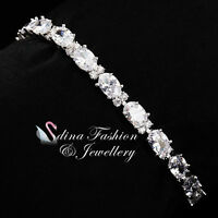 18K White Gold Filled Cubic Zirconia Clear Oval Cut Silver Tennis Bracelet
