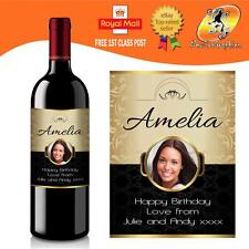 Photo personnalisé étiquette Bouteille Vin Cadeau D'Anniversaire Toute Occasion