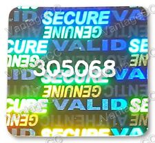 144x LARGE Security Hologram Stickers, NUMBERED, 24mm Square Labels,Tamper-proof