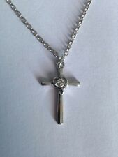 Jesus Christ Cross Silver Colour Pendant Necklace Crucifix 2mm Chain Gift CR04