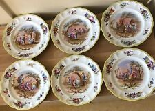 Lovely Set of 6 Hand Painted French Faience Majolica Plates Moy Gilot 1773