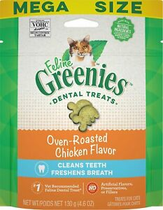 Feline Greenies Dental Treat Oven Roasted Chicken 4.6oz    Free shipping