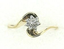 1/10 ct Diamond Cluster Ring REAL SOLID 14 k Yellow Gold 1.9 g Size
