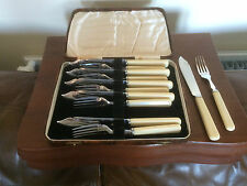 CASED SET OF 12 STAINLESS CHROMIUM FISH KNIVES AND FORKS IN A BROWN FAUX CASE
