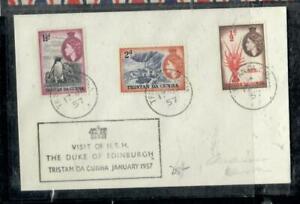 TRISTAN DA CUHNA COVER (P0407B) 1957 QEII 1 1/2D PENGUIN+1/2D+2D DUKE VISIT COVE