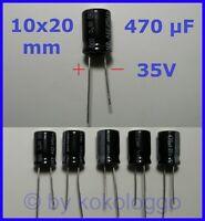 S417 - 10 Stück Elko 470 µF 35V Kondensator Stützkondensator Flackerschutz