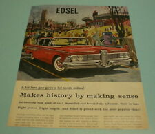1959 Edsel Print Ad - Makes History By Making Sense