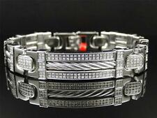 Nuovo Uomo Diamante Vero 12 mm Acciaio Inox Bracciale Rigido 1.75 Kt