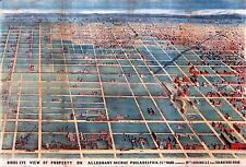 1863 BIRD'S EYE VIEW OF ALLEGHENY AVE. PHILADELPHIA PA 25th WARD COPY POSTER MAP
