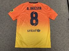 2012 2013 FC Barcelona Orange Away Jersey Shirt Kit Nike Andres Iniesta M Medium