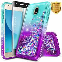 For Samsung Galaxy J7 Crown/Refine/Star Case Liquid Glitter Cover+Tempered Glass
