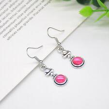 Fashion 925 Silver Moonstone Red Agate Drop Dangle Hook Earrings Women Jewelry