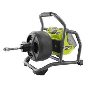 RYOBI Hybrid Drain Auger 50-Ft Cable Battery Charger Winding drum Variable Speed