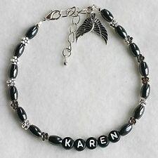 Nome Personalizzato magnetico Ematite Fiore Angelo Custode Ali braccialetto alla caviglia