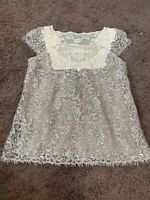 Anthropologie HD in Paris Lace Top Blouse Glitter Nude Beige Size 4