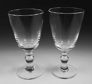 "2 Williams Sonoma Edward Maison Crystal Wine Goblets 6 3/4"" Baluster Hand Made"