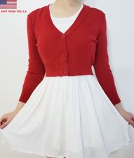 Cropped 3/4 Sleeve Fitted V-Neck Soft Knit Vintage Dress Basic Cardigan Sweater
