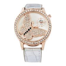 Mode Damen Uhr Armbanduhr Quarzuhr Schmetterling Kristall mit Strass Wristwatch