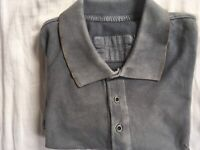 All Saints Men's Polo Shirt Size L With Metal Buttons And Rolled Hem VGC