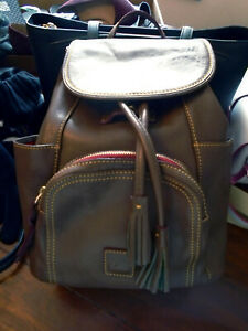 Dooney & Bourke GORGEOUS Leather Backpack Medium Taupe Brown
