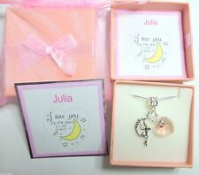 """""""I Love you to the Moon and Back"""" moon Charm and Pink Heart Necklace Gift in Box"""