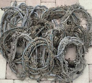 Vintage Fish Net rope scraps nautical decor aqua genuine 10' lengths shabby