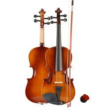 3/4 Acoustic Violin Case Bow Rosin Natural for Kid Beginner Student