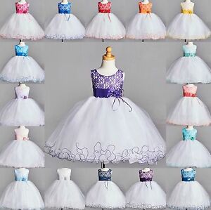 NEW Lace Tulle Dress S M L XL 2 4 6 8 10 12 14 Flower Girl Wedding Easter #015