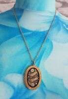 Vintage Damascene Goldtone Toledo Necklace Pendant & Chain