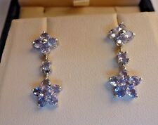 10K SOLID WHITE GOLD 2.2 CT TANZANITE DROP DANGLE DESIGNER EARRINGS