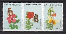Sao Tome and Principe : Flowers and Butterflies ( 3 v. ) 1988 MNH