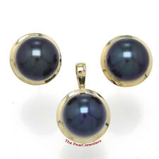 14k Solid Yellow Gold Genuine 9-9.5mm Black Cultured Pearl Earring & Pendant TPJ
