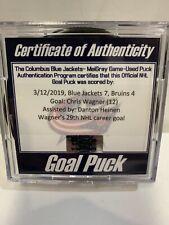 GAME USED SCORED GOAL PUCK CHRIS WAGNER BOSTON BRUINS 29rd Career Goal CBJ