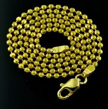 8.00Gram 18K Solid Yellow Gold Diamond Cut Bead Necklace Chain Pre owned Lobster