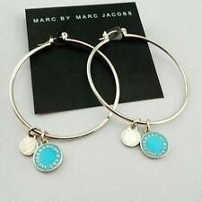 "Marc by Marc Jacobs Silver 2"" Round Hoop Earrings w/Blue Enamel Logo Charms"
