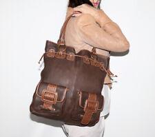 OLD GRINGO Brown Leather Big Drawstring Tote Bag
