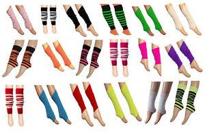 Girls Kids Dance Wear Gear Neon Plain Leg Warmer Socks Gym Black Red White Pink