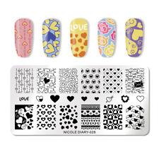 Nicole diario para Uñas Stamping Placa Rectángulo plantilla de Arte de Uñas de 028 día de San Valentín