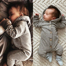 Toddler Newborn Baby Boy Girl Kid Romper Jumpsuit Hooded Bodysuit Clothes Outfit