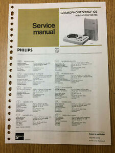 Philips 22GF103 Service Manual Vintage Gramophone